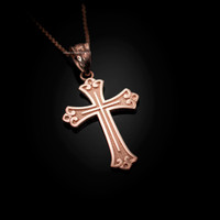 Rose Gold Fleur de lis Cross Religious Pendant Necklace