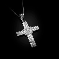 White Gold Floral Cross Pendant Necklace