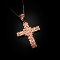 Rose Gold Floral Cross Pendant Necklace