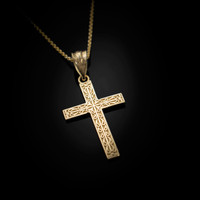 Yellow Gold Latin Cross Religious Pendant Necklace