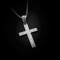 White Gold Latin Cross Religious Pendant Necklace