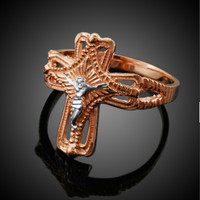 Two-Tone Rose Gold Crucifix Cross Ring