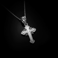 White Gold Filigree Cross Charm Necklace