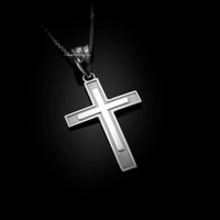 White Gold Inner Cross Pendant Necklace