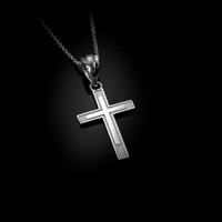 White Gold Inner Cross Charm Necklace