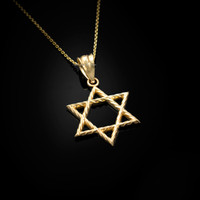 Yellow Gold Star of David Charm Necklace