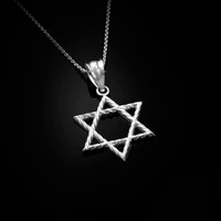 White Gold Star of David Charm Necklace