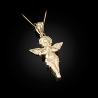 Polished Yellow Gold Angel Pendant Necklace