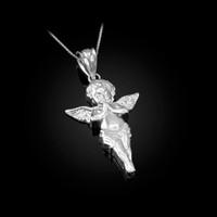 Polished White Gold Angel Pendant Necklace