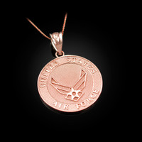 Rose Gold US Air Force Medallion Pendant Necklace