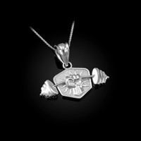White Gold Hand Weightlifting Dumbbell Pendant Necklace