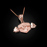 Rose Gold Hand Weightlifting Dumbbell Pendant Necklace