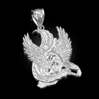 White Gold High Polished Eagle Pendant