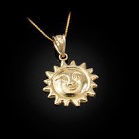 Yellow Gold Sun Face Celestial Pendant Necklace