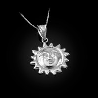 White Gold Sun Face Celestial Pendant Necklace