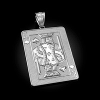 White Gold King of Spades Poker Card Hip Hop Pendant
