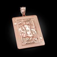 Rose Gold King of Spades Poker Card Hip Hop Pendant