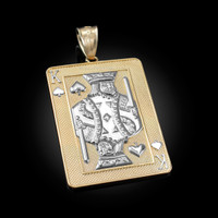 Two-Tone Yellow Gold King of Spades Poker Card Hip Hop Pendant