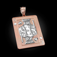 Two-Tone Rose Gold King of Spades Poker Card Hip Hop Pendant