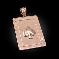 Rose Gold Ace of Spades Poker Card Hip Hop Pendant