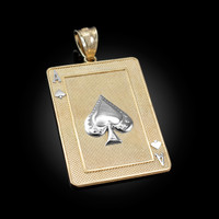 Two-tone Gold Gold Ace of Spades Poker Card Pendant
