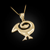 Yellow Gold African Adinkra Sankofa Pendant Necklace