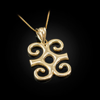 Yellow Gold Adinkra Dwennimmen African Pendant Necklace
