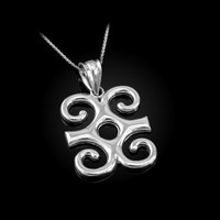White Gold Adinkra Dwennimmen African Pendant Necklace