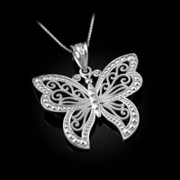 White Gold Filigree Butterfly Midsize Pendant Necklace