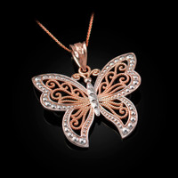 Rose Gold Filigree Butterfly Midsize Pendant Necklace