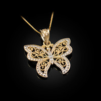 Gold Filigree Butterfly Charm Necklace