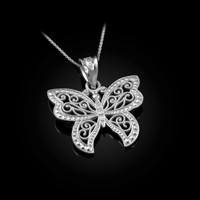 White Gold Filigree Butterfly Charm Necklace