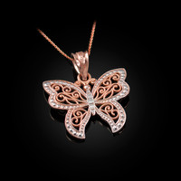 Rose Gold Filigree Butterfly Charm Necklace