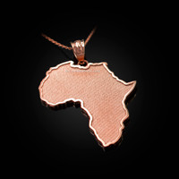 Rose Gold Africa Map Pendant Necklace