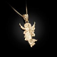 Yellow Gold Resurrection of Jesus Christ Pendant Necklace