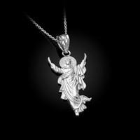 White Gold Resurrection of Jesus Christ Pendant Necklace