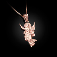 Rose Gold Resurrection of Jesus Christ Pendant Necklace