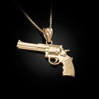 Yellow Gold Polished Revolver Pistol Gun Pendant Necklace