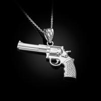 White Gold Polished Revolver Pistol Gun Pendant Necklace