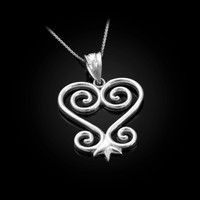 White Gold African Adinkra Sankofa Heart Pendant Necklace