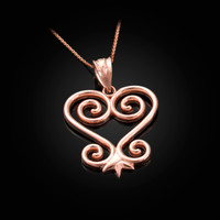 Rose Gold African Adinkra Sankofa Heart Pendant Necklace
