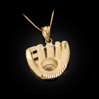 Yellow Gold Satin DC Baseball Glove Pendant Necklace