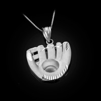 White Gold Satin DC Baseball Glove Pendant Necklace