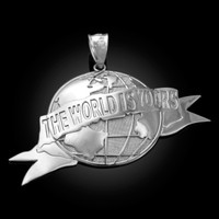 White Gold THE WORLD IS YOURS Pendant