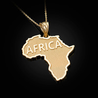 Africa Map Yellow Gold Pendant Necklace