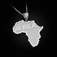 Africa Map White Gold Pendant Necklace