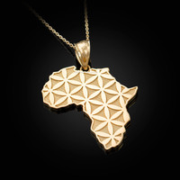 Yellow Gold Africa Map Flower of Life Pendant Necklace