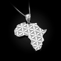 White Gold Africa Map Flower of Life Pendant Necklace