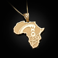 Yellow Gold Africa Map Adinkra Sankofa Pendant Necklace