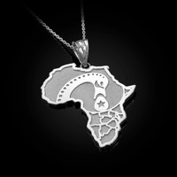 White Gold Africa Map Adinkra Sankofa Pendant Necklace
